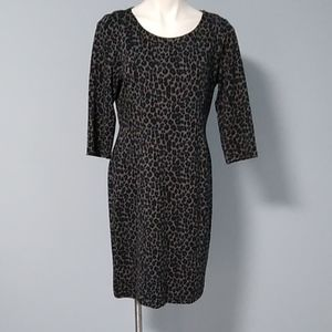Talbot's blue cheetah pattern midi dress size 12p